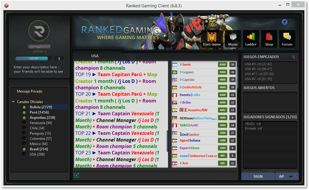 Ranked Gaming Client (6.8.3)